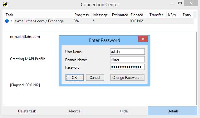 Connecting to MS Exchange Server via MAPI