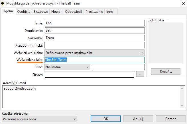 255c8d0f9c5b89 Aby zmienić nazwę, wybierz odpowiedni kontakt w książce adresowej, przejdź  do właściwości przez menu Edycja -> Właściwości i wpisz żądane imię w pole  ...